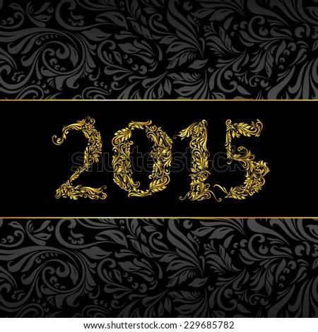 Raster version. Elegant black and golden banner for year 2015 over ornate floral pattern background  - stock photo