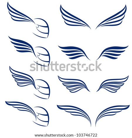 Raster version. Elements of design racing wings. Illustration on white background. - stock photo