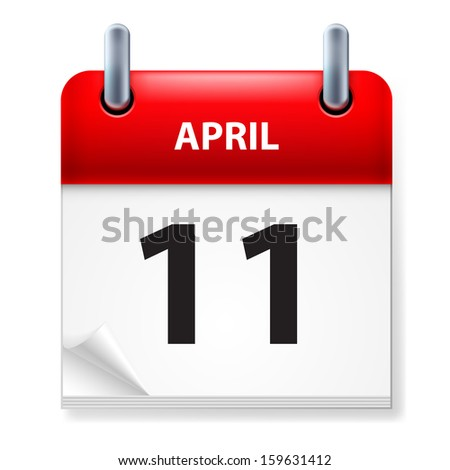 Raster version. Eleventh in April Calendar icon on white background - stock photo
