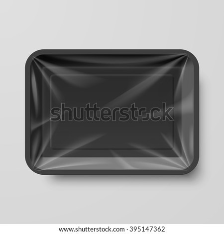 Raster version. Empty Black Plastic Food Container on Gray