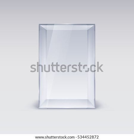 Raster version. Empty Glass Showcase. Illustration on White Background