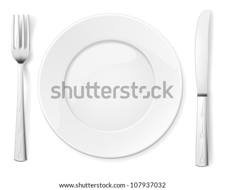 Raster version. Empty plate with knife and fork. Illustration for design on white background - stock photo