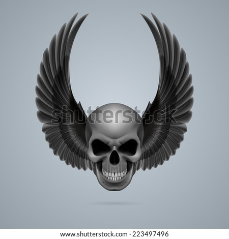 Raster version. Evil looking skull with two black wings up.  - stock photo
