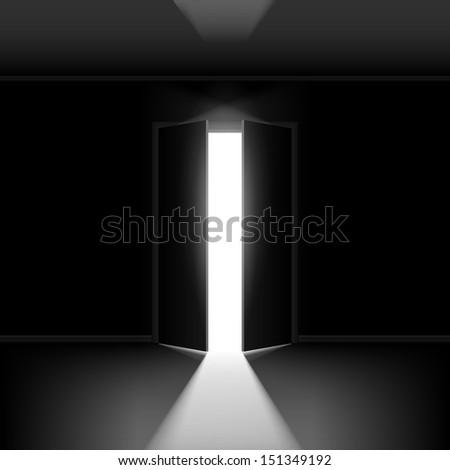 Raster version. Exit door with light. Illustration on black empty background - stock photo