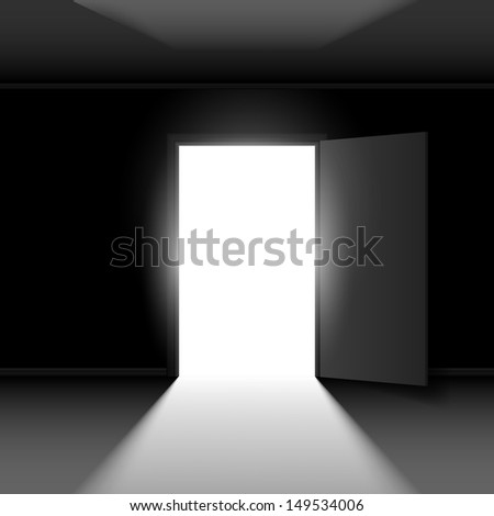 Raster version. Exit door with light. Illustration on dark empty background - stock photo