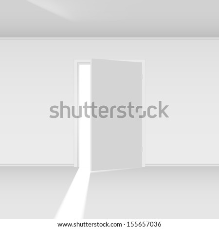 Raster version. Exit door with light. Illustration on empty background - stock photo