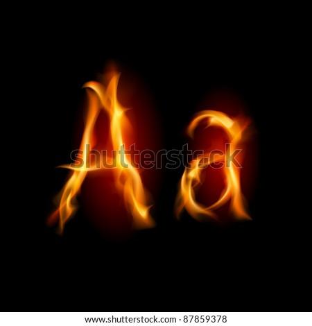 Raster version. Fiery font. Letter A. Illustration on black background - stock photo
