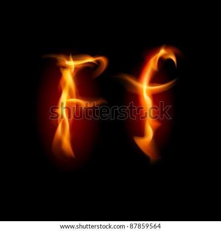 Raster version. Fiery font. Letter F. Illustration on black background - stock photo
