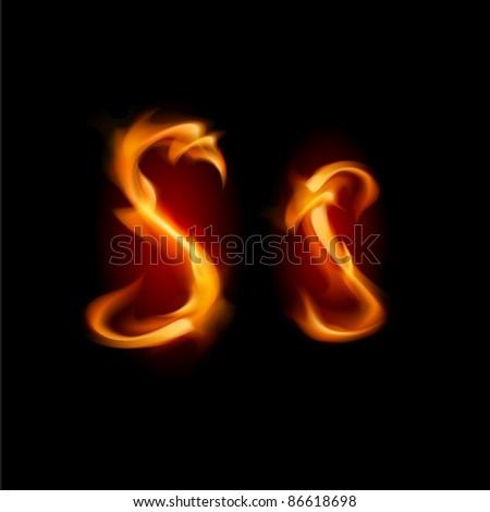 Raster version. Fiery font. Letter S. Illustration on black background - stock photo