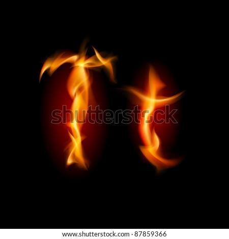 Raster version. Fiery font. Letter T. Illustration on black background - stock photo