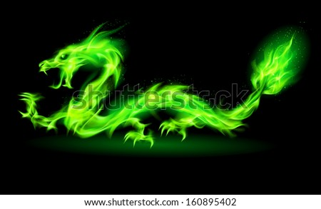Raster version. Fire Chinese dragon in green on black background.  - stock photo