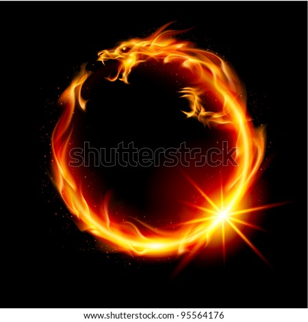 Raster version. Fire Dragon. Abstract  Illustration on black background for design. - stock photo