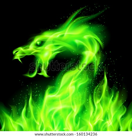 Raster version. Fire head of dragon in green on black background.  - stock photo