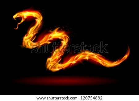 Raster version. Fire Snake. Illustration on black for design - stock photo