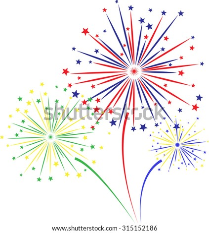 Raster version. Firework design on white background. illustration.