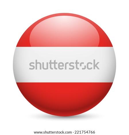 Raster version. Flag of Austria as round glossy icon. Button with Austrian flag  - stock photo