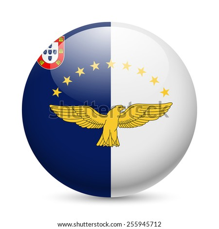 Raster version. Flag of Azores as round glossy icon. Button with flag design  - stock photo