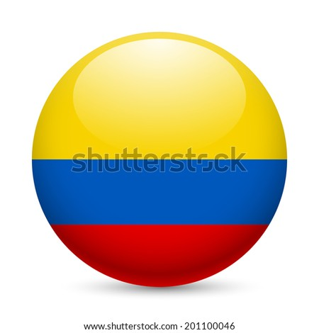 Raster version. Flag of Colombia as round glossy icon. Button with Colombian flag - stock photo