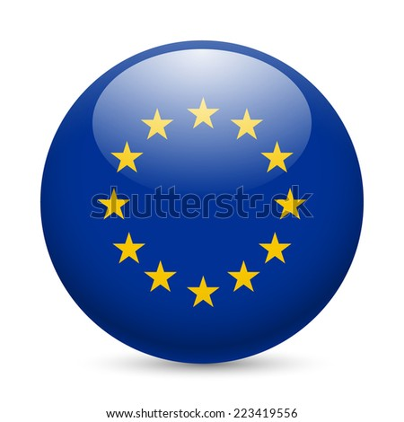 Raster version. Flag of European Union as round glossy icon. Button with EU flag  - stock photo