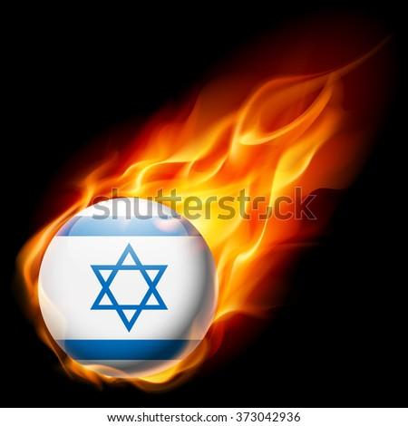 Raster version. Flag of Israel as round glossy icon burning in flame