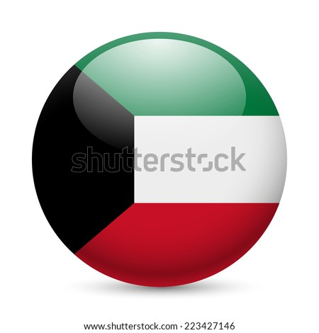 Raster version. Flag of Kuwait as round glossy icon. Button with Kuwaiti flag  - stock photo