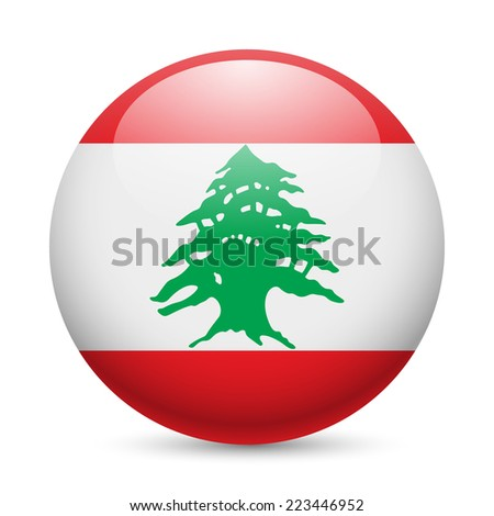 Raster version. Flag of Lebanese Republic as round glossy icon. Button with flag design