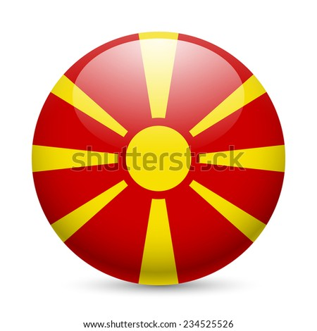 Raster version. Flag of Macedonia as round glossy icon. Button with Macedonian flag  - stock photo