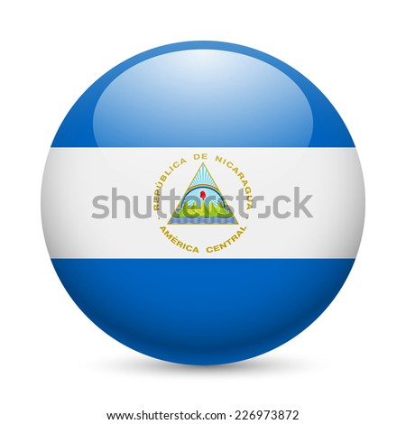 Raster version. Flag of Nicaragua as round glossy icon. Button with Nicaraguan flag  - stock photo