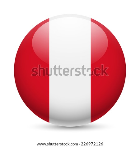 Raster version. Flag of Peru as round glossy icon. Button with Peruvian flag  - stock photo