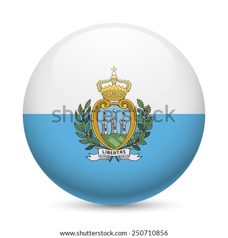 Raster version. Flag of San Marino as round glossy icon. Button with flag colors  - stock photo