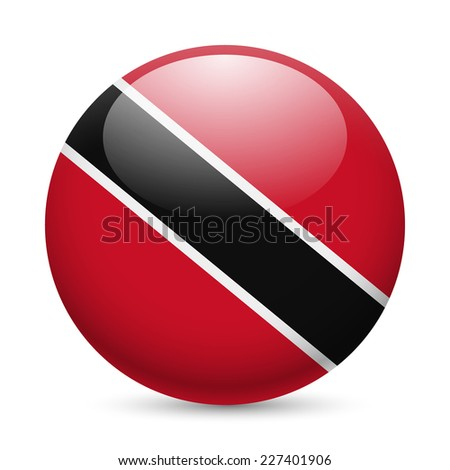 Raster version. Flag of Trinidad and Tobago as round glossy icon. Button with flag colors  - stock photo