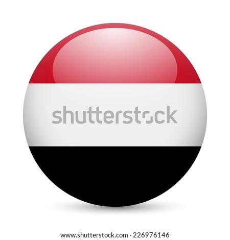 Raster version. Flag of Yemen as round glossy icon. Button with Yemeni flag  - stock photo