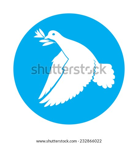 Raster version. Flat icon of dove of peace with olive branch in its beak  - stock photo
