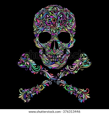 Raster version. Floral colors pattern of form skull with crossbones on the black