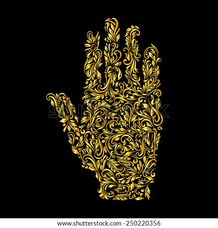 Raster version. Floral gold pattern of vines in the shape of a hand on a black background  - stock photo