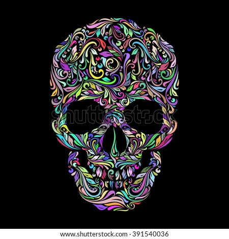 Raster version. Floral pattern in the shape of a skull on a black