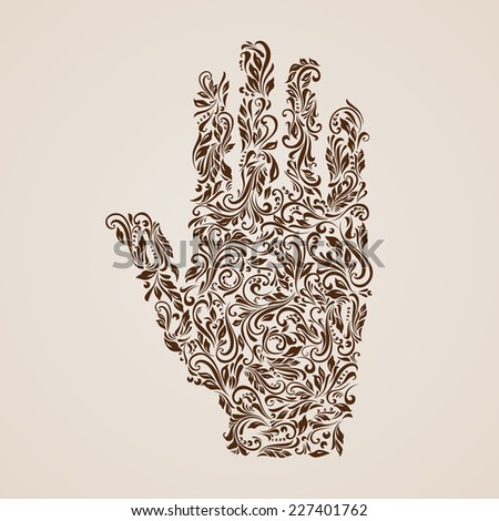 Raster version. Floral pattern of vines in the shape of a hand on the beige background  - stock photo