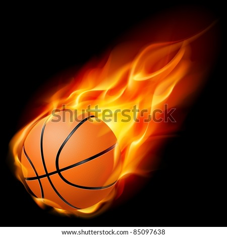 Raster version. Flying basketball on fire. Illustration on black background - stock photo