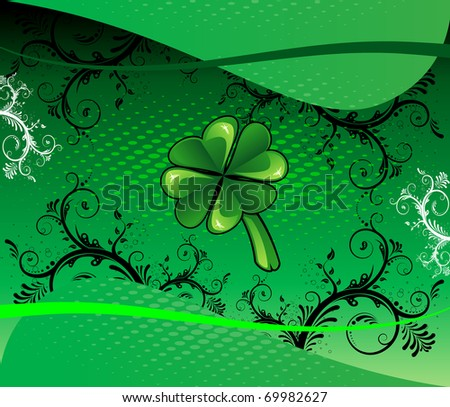 Raster version for St Patrick's Day Background with shamrock and scrolls. - stock photo