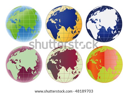 Raster version Globe Europe and Asia set of 6 color options