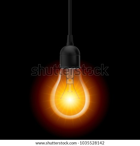 Raster version. Glowing light bulb in Lamp Socket Hanging on Wire on Dark Background