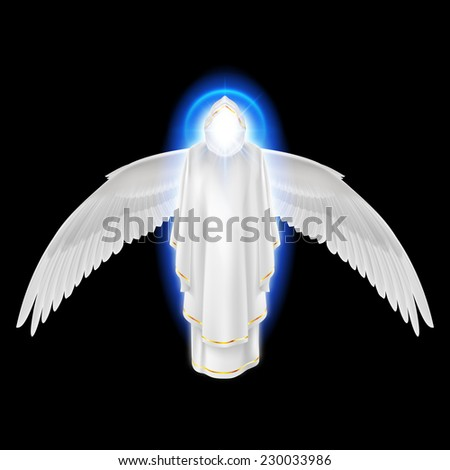 Raster version. Gods guardian angel in white dress with blue radiance and wings down on black background. Archangels image. Religious concept  - stock photo