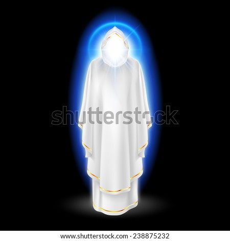 Raster version. Gods guardian angel in white dress with blue radiance.  Religious concept  - stock photo