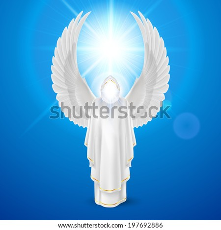 Raster version. Gods guardian angel in white dress with wings up against sky background and bright sun flare. Religious concept - stock photo