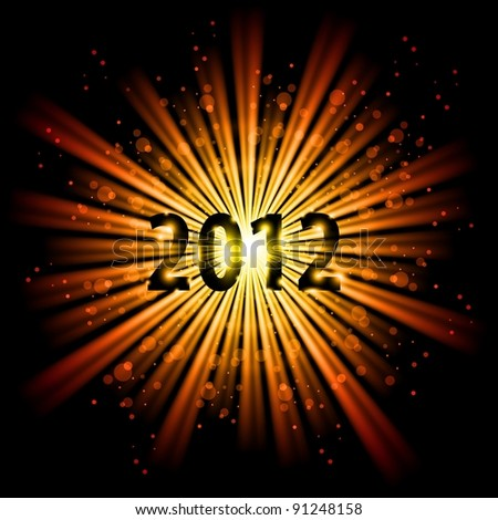 Raster version. Gold abstract Happy New Year twenty twelve background