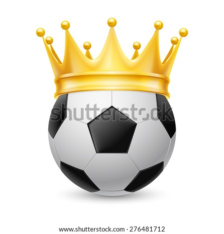 Raster version. Gold crown on a soccer ball isolated on white - stock photo