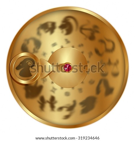 raster version gold disc with signs of the zodiac, Aries separately allocated. Isolated object to any suitable illustration. - stock photo