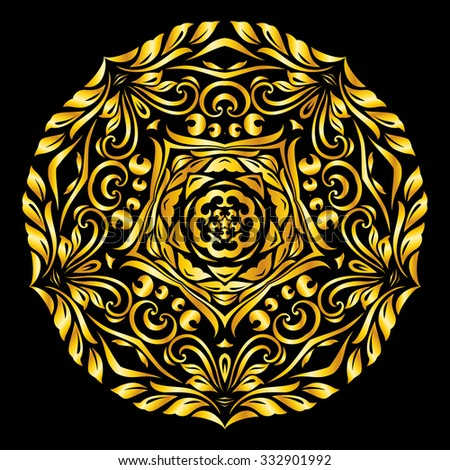 Raster version. gold element similar circle on black background - stock photo