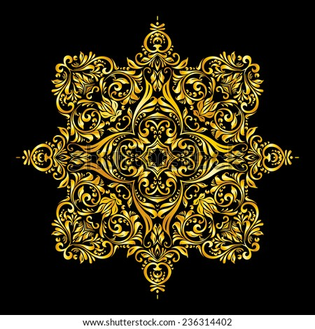 Raster version. gold elements similar a flowers on black background  - stock photo