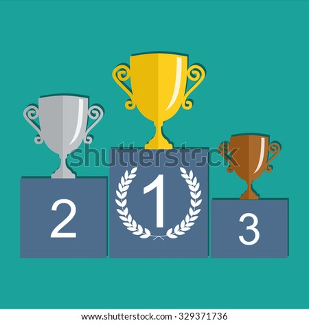 Raster version. Gold, Silver and Bronze Trophy Cup on prize podium. First place award. Champions or winners Infographic elements. illustration. - stock photo